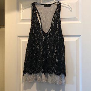 Cotton with lace overlay dressy tank top